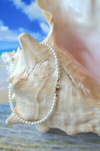 14K Yellow Gold & White Freshwater Pearl Bracelet or Anklet - 10 Inches