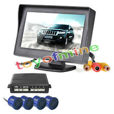 Car Reverse Backup Radar System 4 Parking Sensors LCD Sound Alert Blue 580c