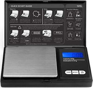 Digital Pocket Scale - 200g x 0.01g by ROYALTEC - Black Batteries Included