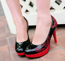 Womens Vogue stiletto Ladies high heels Court platform Retro Pumps shoes Plus Sz