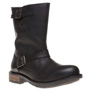 New Superdry Biker Leather Boots Black Pull-on Men's US 8 / EU 41 / UK & AU 7