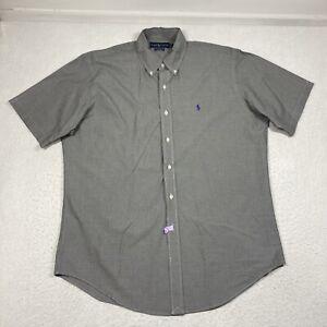 Ralph Lauren Classic Fit Mens Large Black Check Button Down Short Sleeve