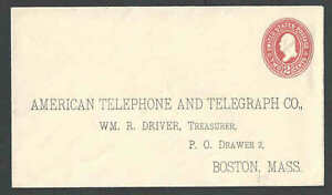 1899 U362 2c Red On White Mint Entire W/Preprinted A T & T Boston Ma Die 100---