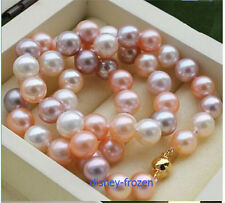"18"" Gorgeous AAA+ 10-11mm natural south sea multicolor round pearl necklace 14k"