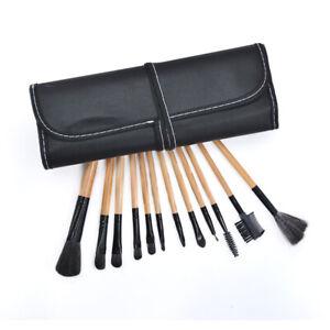 12Pcs Makeup Brushes Set Powder Foundation Eyebrows Face Lip Brush Nature Wood