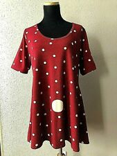 Lularoe Womens Size Large Tunic Dress Polka Dot Wine Stretch