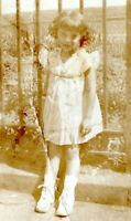 Pretty Young Little Girl in Dress 1930s Vintage Photo