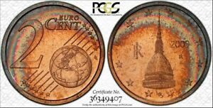 2009-R ITALY 2 EURO CENT PCGS BU MS66RD RAINBOW COLOR TONED ONLY 2 GRADED HIGHER