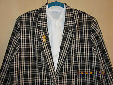 Requirements 22W Linen Blend Black Plaid Blazer + Parfum Sample Excellent+