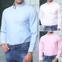 Mens Cotton Rich Oxford Long Sleeved Shirt Plain Casual Big Size L-4XL