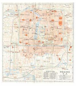 Original very rare 1915 map of Peking (Beijing), China- 北京