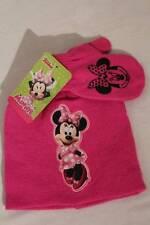 NEW Toddler Girls Beanie Hat Mittens 2 Pc Set Pink Disney Minnie Mouse Knit Cap
