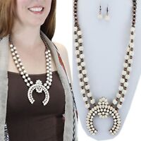 """White Copper Squash Blossom 30"""" Necklace Western Chic Cowgirl Gypsy Rodeo"""