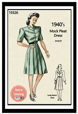 1940s Mock Pleat Shirt-Waist Dress Sewing Pattern - Bust 34