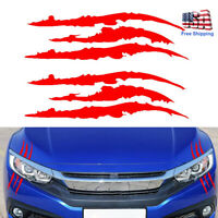 2pcs Monster Claw Marks Decal Reflective Sticker For Car Headlight Decor Red