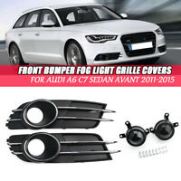 Front Bumper Mesh Grille Panel Cover & Decoration Fog Light For Audi A6 C7 11-15