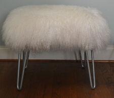 Mongolian Lamb Fur Stool Tibet silver Hairpin Legs Footstool  Ottoman USA made