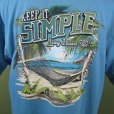 Paradise Shores T-shirts Keep it Simple Beach Scene Logo Men's Aqua Mendium NWT