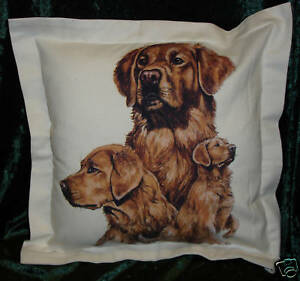 Hand Crafted Golden Retrievers dogs cushion cover