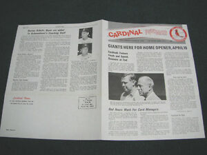1971 ST LOUIS CARDINALS NEWS NEWSLETTERS BASEBALL SCHOENDIENST BOYER TORRE +