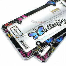 2 Butterfly Plastic Chrome License Plate Tag Frames for Auto-Car-Truck