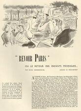 PARIS ARTICLE PRESSE RETOUR STAR VEDETTE GEORGES-MICHEL DESSIN REGIS-MANSET 1953