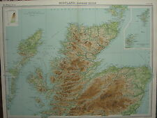 1920 LARGE MAP ~ SCOTLAND NORTHERN SECTION ISLE OF SKYE INVERNESS ABERDEEN