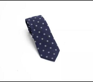 Bar III Men's Neck Tie Navy Blue Seasonal Snowflake Skinny Slim $55 #513