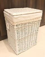 White Home Decor Storage Basket 3 Sizes Resin Woven Hamper Wicker Rattan Lid