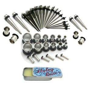16g-00g Plus 1g & 9mm Steel Ear Stretching Kit Tunnels Tapers Gauge Holey Butt'r