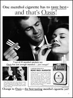 1960 Man & Woman Smoking Oasis Menthol Cigarettes vintage photo print ad adL3