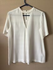 A.LC. Silk Cream Sheer Blouse Triangle front short sleeve Size 6