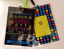 Personalised Neon Glow Party Lanyard for Birthday Party Invites word art design