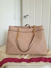 Tory Burch Fleming Triple Compartment Pink Chain Leather Tote Bag Purse
