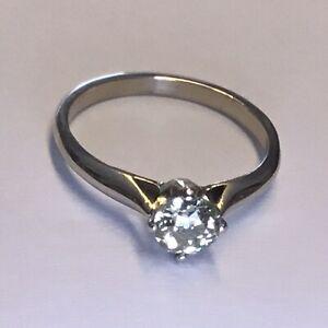 Hist.Diamant Ring Solitär 0,5ct Halbkaräter Altschliff 585er Gold RW16,2mm 1,91g