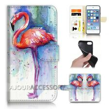 ( For iPod Touch 6 ) Wallet Flip Case Cover AJ21758 Flamingo Bird