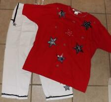 Large / XL 14 / 16 White Capris Cropped Pants & Red Shirt 2 Pc Patriotic Outfit