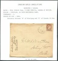 "CANADA SMALL QUEEN COVER ""WINNIPEG"" DUPLEX CANCEL"