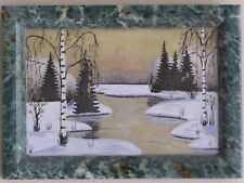Russian URAL Hand Made Stone-Painted Panel of Ornamental Stone SUNSET Wall Decor