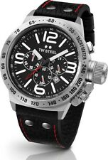TW Steel Watch * TW78R Canteen Black Leather 45MM Chronograph  COD PayPal #crzyj