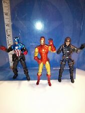 "Marvel Universe 3.75"" Captain America, Winter Soldier & Iron Man figure lot"