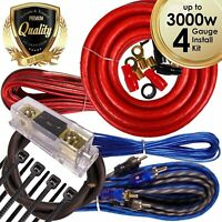 Complete 3000W 4 Gauge Car Amplifier Installation Wiring Kit Amp PK1 4 Ga Red
