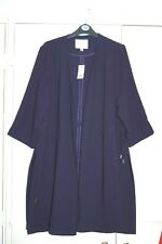 New 18 Navy Blue Open Front Drawstring waist 3/4 Sleeve Long Summer Jacket