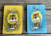 Vintage Arrco Playing Cards 2 Decks Blue Yellow Lion Flowers Birds Gold Box