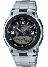 Casio AW80D-1A2V Men's Metal Band Black Dial Analog Digital Telememo 30 Watch