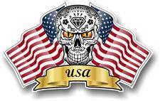 Mexican Sugar Skull & American STARS & STRIPES STATI UNITI BANDIERE Adesivo Vinile CAR CASCO
