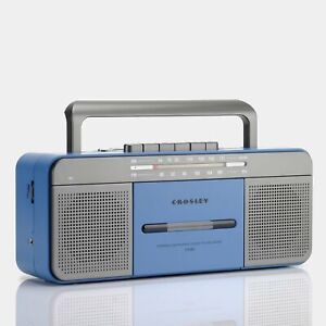 Crosley CT101 Blue AM/FM Boombox Cassette Player with Bluetooth