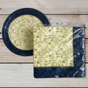 Vtg DesignWare Luncheon Napkins Dessert Plates Gold & Blue Floral Leaf USA Made