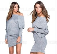 Grey New Dress One Shoulder Long Top Asymmetric Grey Womens Ladies Mini Shirt