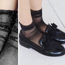 3PC Black Sheer Glitter Ultra Thin Soft Long Ankle High Anklet Sock Retro Lolita